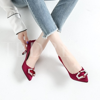 Silk Fabric Rhinestone Slip-On Women's High Heels Big Size 34-41