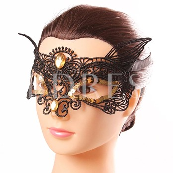 Rhinestone Masquerade Hollow Out Lace Sequins Half Cover Gothic Halloween Mask