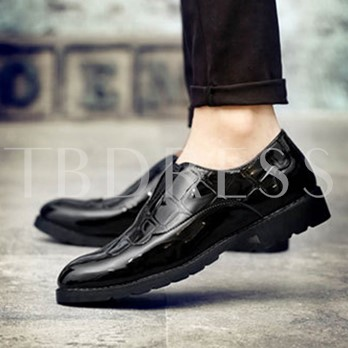 Patchwork Slip-On Patent Leather Shoes for Men