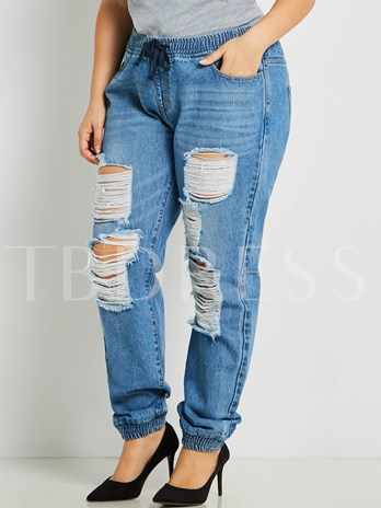 Plus Size Casual Destroyed Ripped Distressed Skinny Denim Women's Jeans