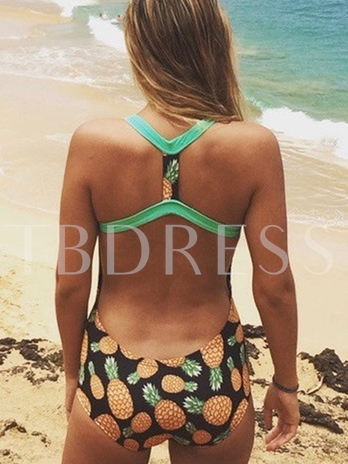Fresh Pineapples Print Backless One Piece Swimsuit