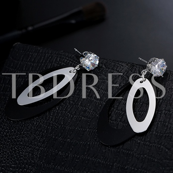 Rhinestone Hollow Out Color Block Earrings