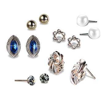Marquise Pearl Zircon Inlaid Alloy Earrings&Rings Jewelry Sets