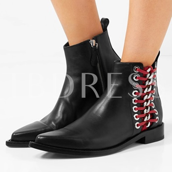 Black Side Zipper Colorful Lace-Up Sequin Leather Ankle Boots for Women