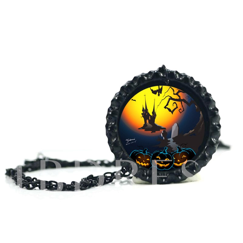 Diversity Alloy Artificial Stone Glass Link Chain Halloween Necklace
