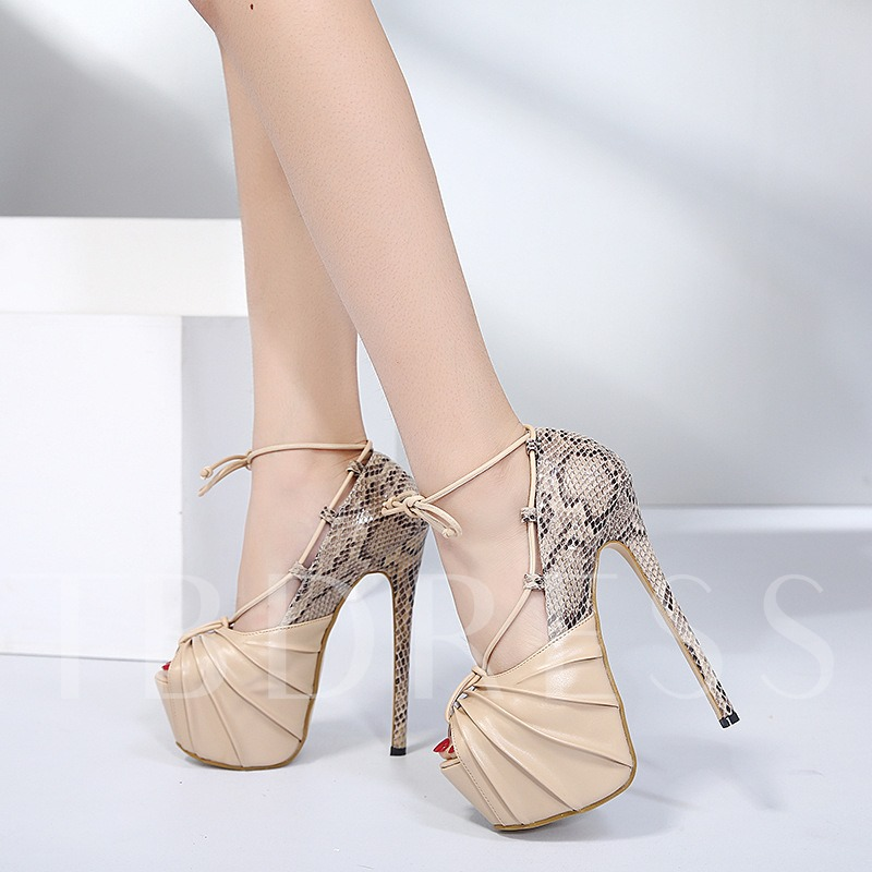 Serpentine Party Shoes Lace-Up Platform High Heels