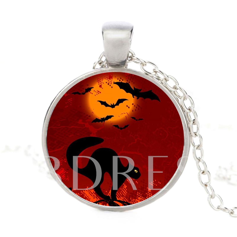 Cat Bat Moon Terror Red Glass Link Chain Halloween Necklace