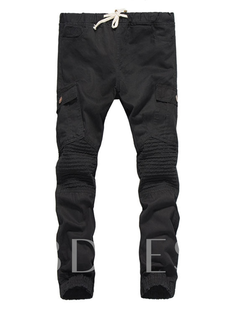 Buy Korean Style Lace-up Solid Color Slim Fit Men's Casual Pants, Spring,Summer,Fall, 12971144 for $27.99 in TBDress store