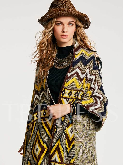 Color Block Geometric Pattern Wrapped Women's Cape