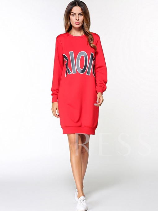 Letters Printed Red Women's Long Sleeve Dress