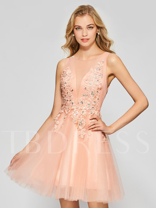 A-Line Appliques Beading Button Scoop Short Homecoming Dress