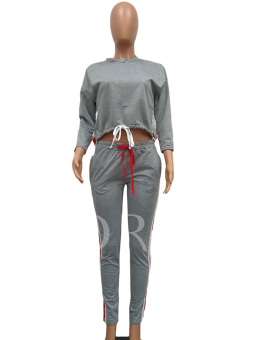 Color Block Patchwork Lace-Up Women's Pants Suit