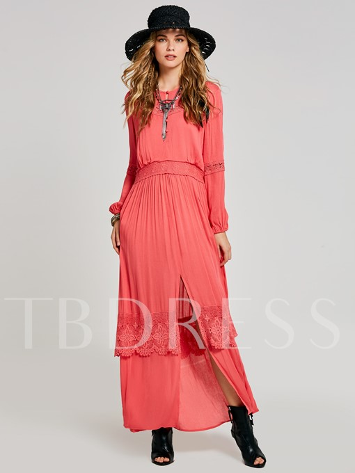 Long Sleeve Split Appliques Women's Maxi Dress