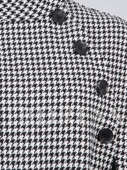 Stand Collar Houndstooth Single-Breasted Women's Overcoat