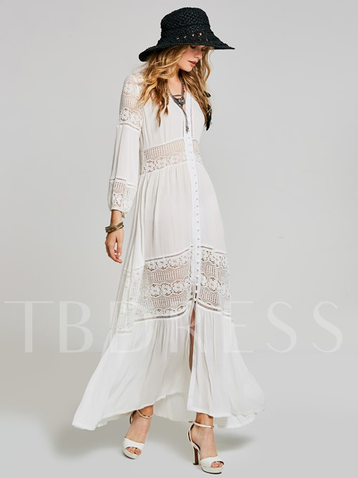White Patchwork Single-Breasted Women's Maxi Dress