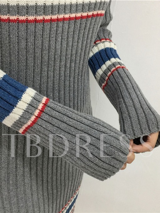 Gray Striped Women's Sweater Dress