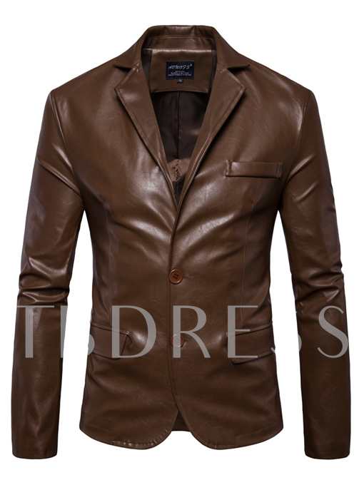 Notched Collar PU Slim Fit PU Men's Jacket