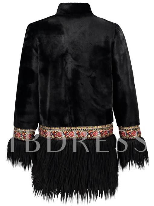 Stand Collar Embroidery Tassel Mid-Length Women's Jacket