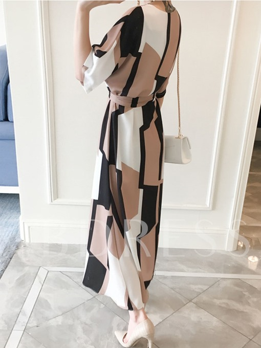 Color Block Half Sleeve Lace up Women's Maxi Dress