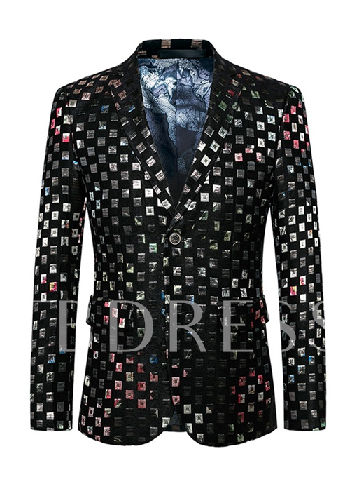 Notched Collar Bright Color Plaid One Button Slim Vogue Men's Blazer