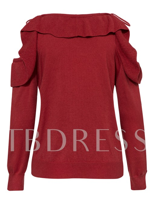 V-neck Falbala Hollow Lace-up Patchwork Women's Sweater