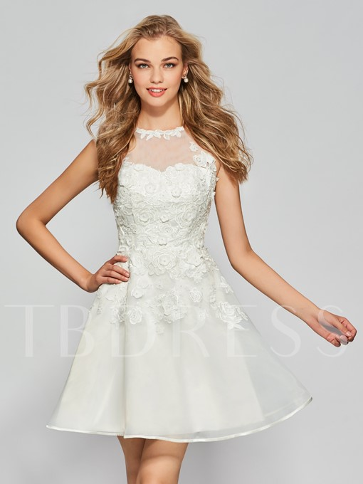 Empire A-Line Button Appliques Jewel Neck Mini Homecoming Dress