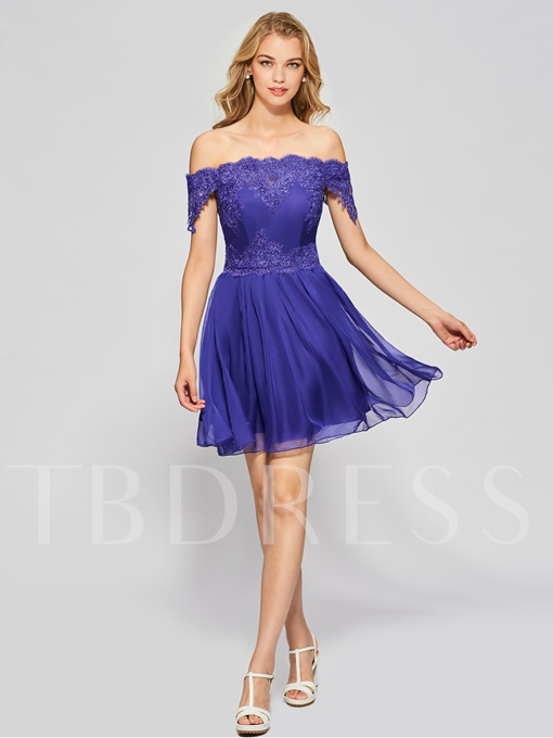 A-Line Off-the-Shoulder Button Lace Short Homecoming Dress