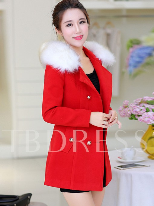 Double-Breasted Faux Fur Collar Packet Women's Overcoat