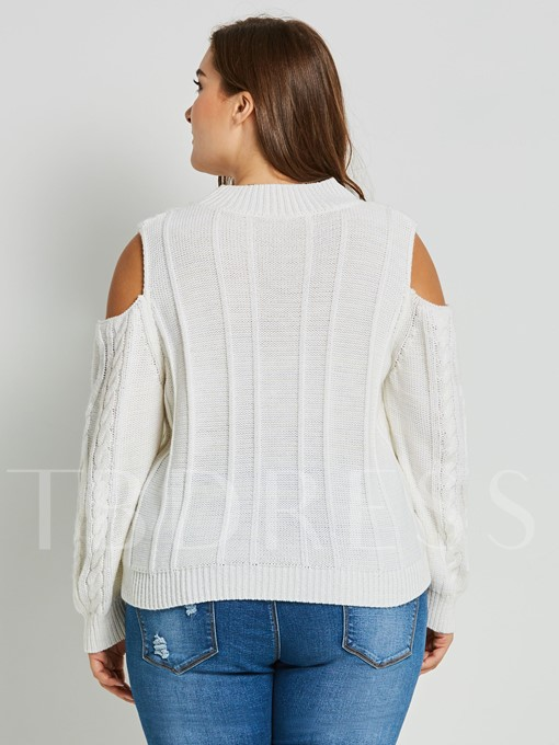 Plus Size Pullover Round Neck Women's Sweater