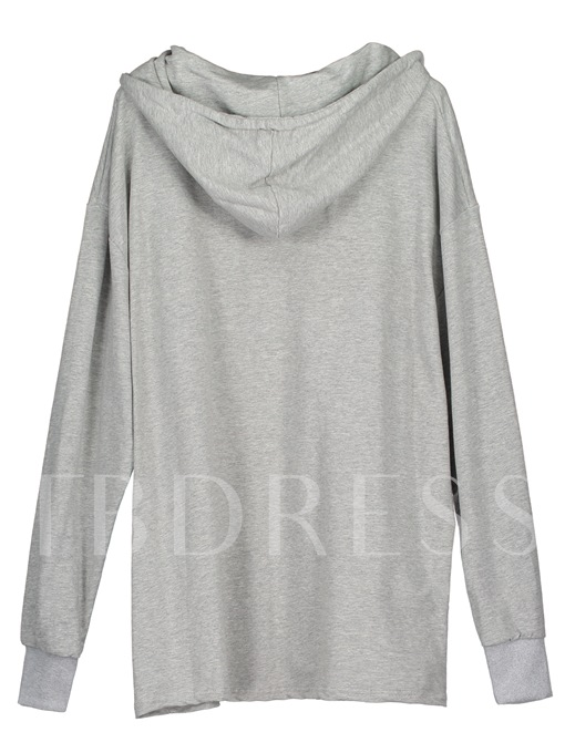 Letter Embroidery Loose Long Pullover Women's Hoodie