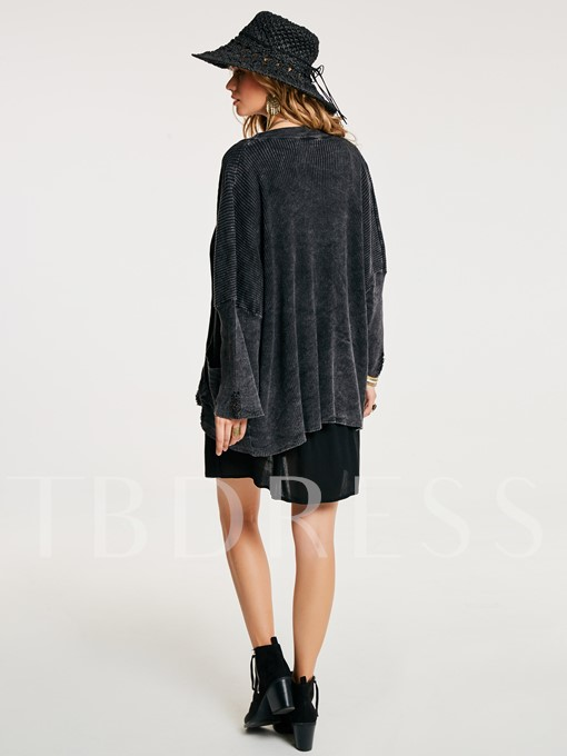Loose Hole Single-Breasted Cardigan Women's Coat