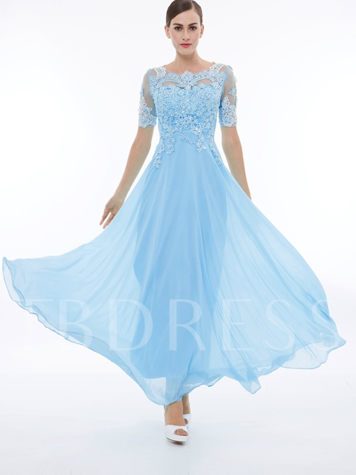 Short Sleeves Appliques Beading Long Prom Dress