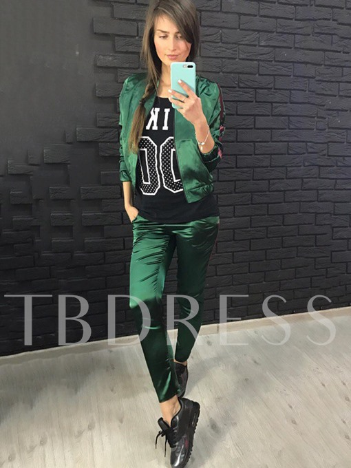 Slim Color Block Women's Casual Pants Suit