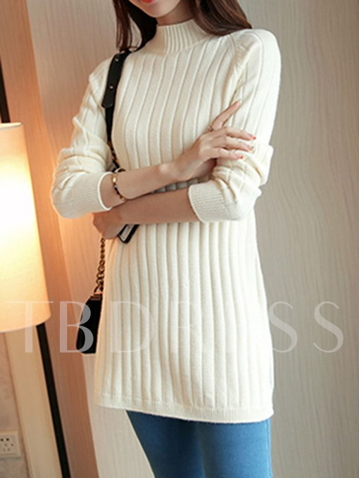 Turtleneck Slim Plain Mid-length Women's Sweater