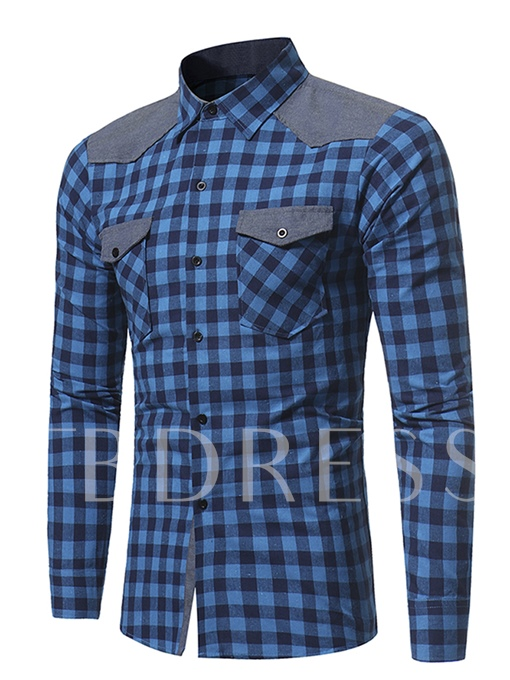 England Style Patchwork Plaid Printed Slim Fit Men's Shirt