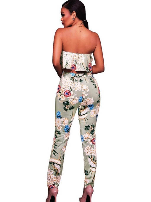 Falbala Backless Floral Print Women's Pants Suit