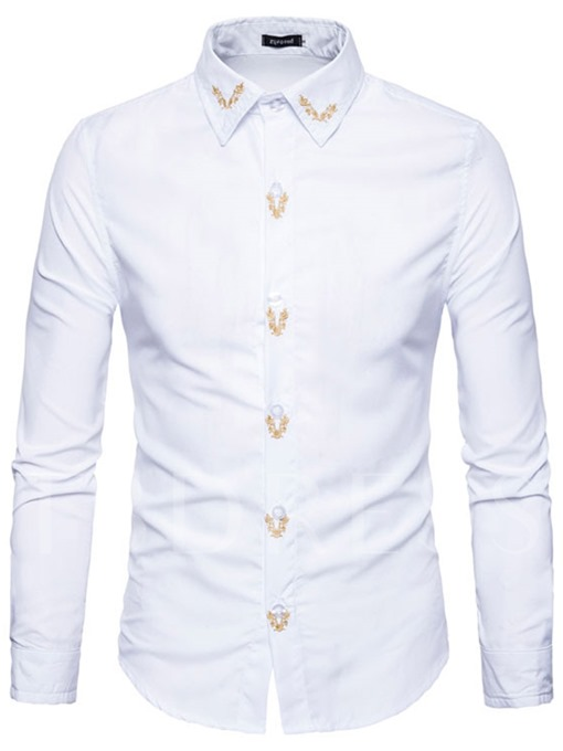 Lapel Embroidery Single-Breasted Slim Fit Men's Shirt