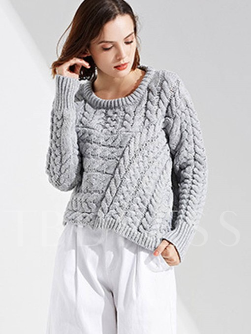 Round Neck Knitted Short Women's Loose Sweater
