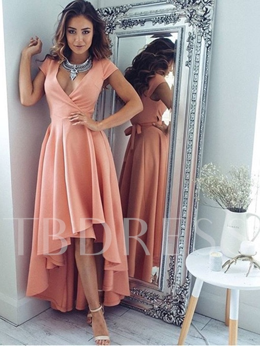 A-Line Cap Sleeves V-Neck Pleats High Low Prom Dress
