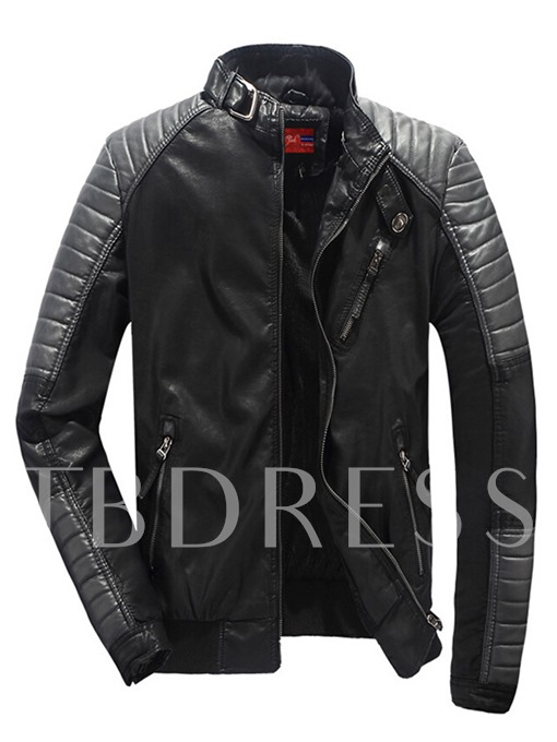 Motor Style Stand Collar Zipper Side Pocket Slim Men's PU Jacket