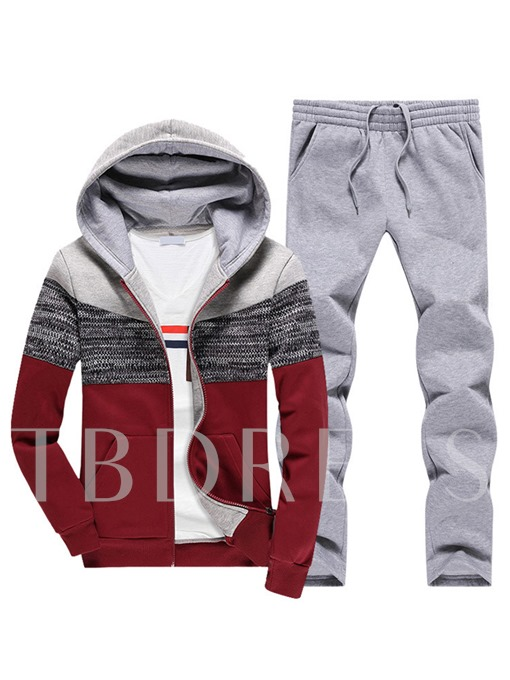 Hooded Patchwork Color Block Zipper Slim Casual Men's Sports Suit
