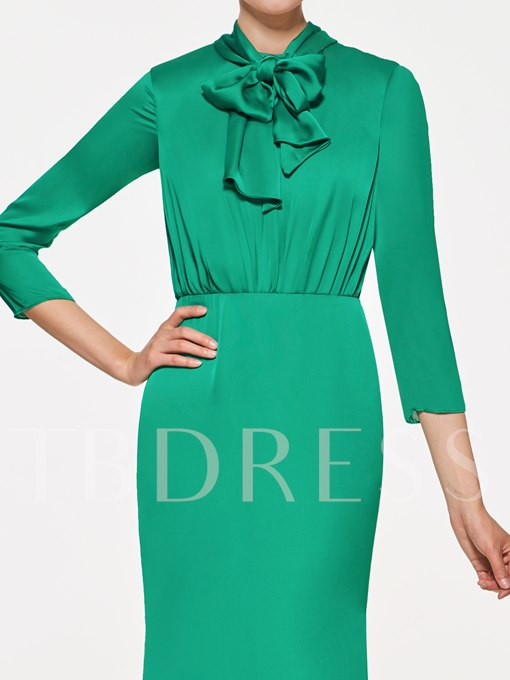 3/4 Length Sleeves Column Mother of the Bride Dress