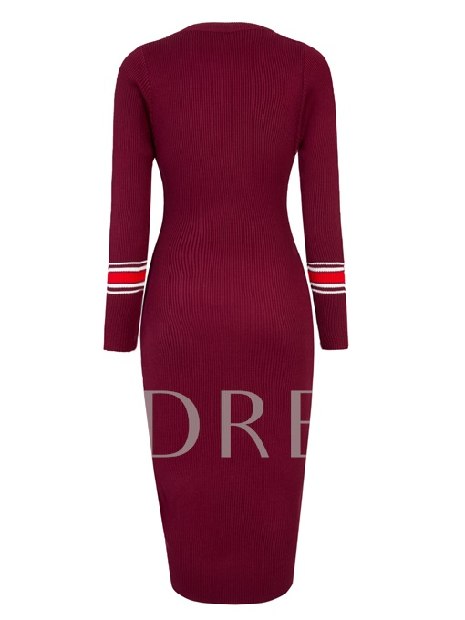 Round Neck Mid-Calf Women's Sweater Dress