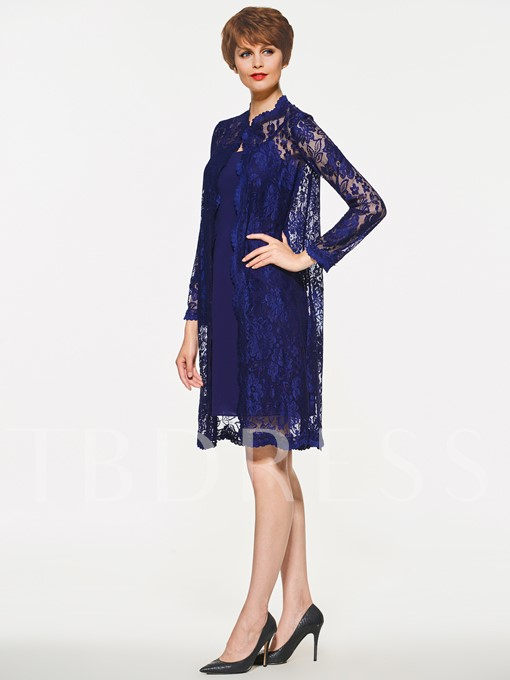 Straps Sheath Mother of the Bride Dress with Lace Jacket