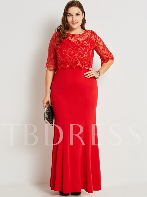 Hollow See-Through Lace Women's Maxi Dress