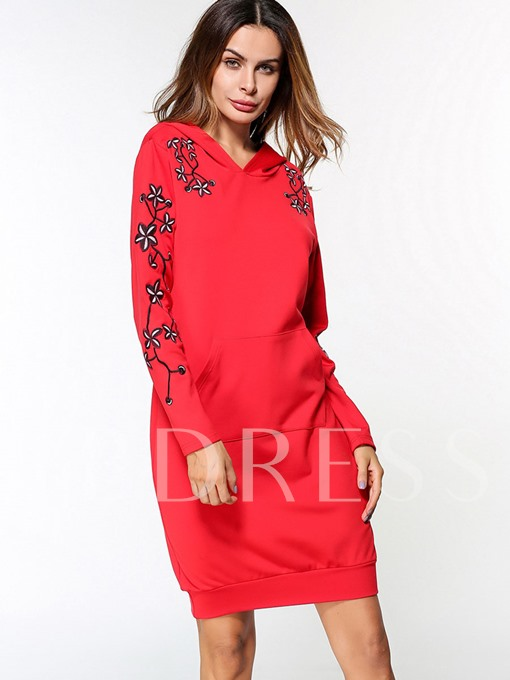 Red Long Sleeve Pocket Women's Hooded Dress