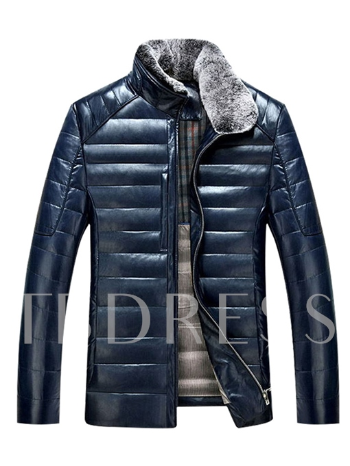 Faux Fur Collar Zipper Thicken Warm Slim PU Men's Down Jacket