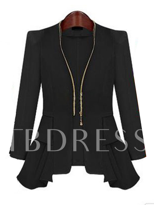 Pleated Zipper Asymmetric Women's Blazer