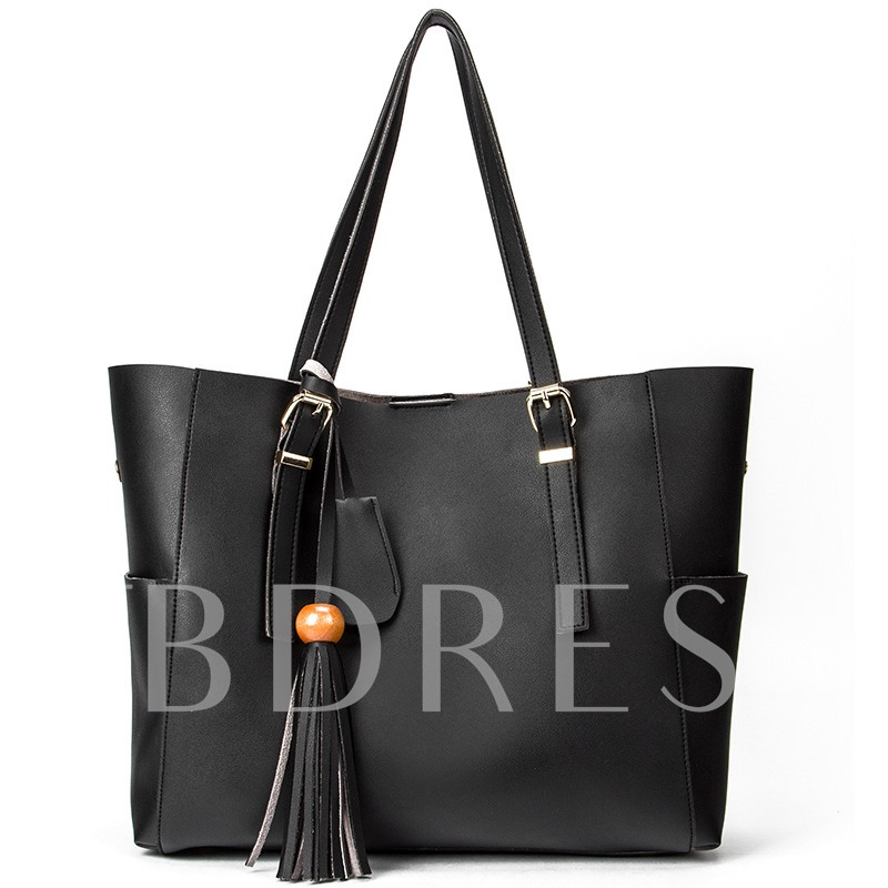 Well-Match Solid Color Tassel Shoulder Bag