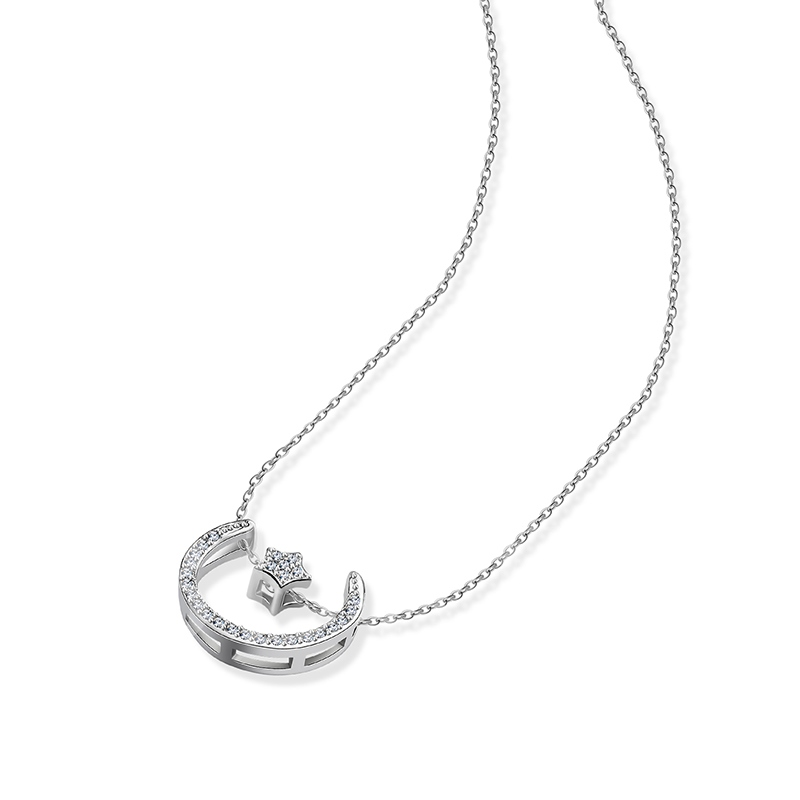 Moon Star Shaped Silver Plated Zircon Inlaid Necklace